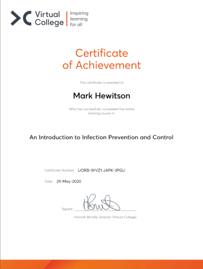 Mark Hewitson's Certificate of Achievement - An Introduction to Infection Prevention and Control